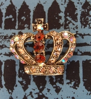 "Crystal Topaz Gold 1.5"" Crown Jewelry Pin"