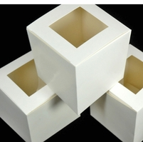 "Cupcake Boxes with a window (12 boxes) 3-1/2"" square"