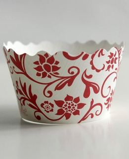 Cupcake Couture Wrappers Hannah Red & White