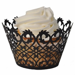 Cupcake Wrappers Black Filigree