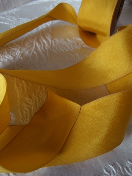 "Custom Dyed Silk Ribbon Golden Yellow 1.5"" width 38 yards"