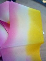 "Custom Dyed Silk Ribbon Sugar Magnolia Pink, white & Yellow 1.5"" width 3 yards"