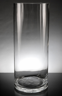 Clear Glass Cylinder Vase 14 in.