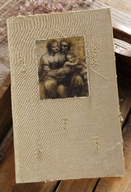 DaVinci Madonna & Child Burlap & Wood Book Box