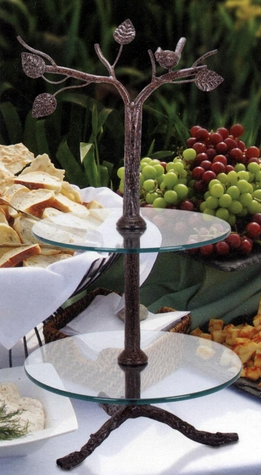 2-Tier Dessert Stand with Bird Accent Glass & Metal 29in