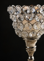 "Diamond Crystal 9"" Pedestal Candle Holders"