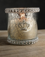 "Diamond & Mercury Glass 3"" Candle Holders"