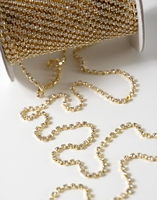 "Diamond Ribbon Trim with Stones 1/16"" width Gold Setting 11 yards"