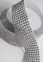"Diamond Ribbon Trim with Stones 1-3/8"" Width Silver Setting 41"" Long"