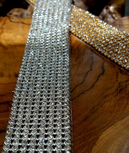 "Diamond Ribbon Trim with Stones 8 Rows 1-1/8"" wide 18.5"""