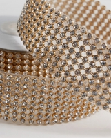 "Diamond Ribbon Trim with Stones Gold Setting 1-3/8"" width 41 inches"