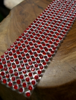 "Diamond Ribbon with Ruby Red Rhinestones 1-1/8"" wide 8 rows ( 18.5"")"