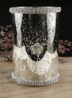 Diamond Trim Silver Mercury Glass 4x6 Candle Holder with Crown