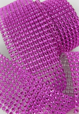 "Diamond Wrap Hot Pink 2"" wide x 8.5 feet (10 rows) roll"