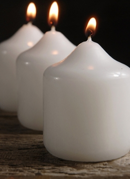 "Discount Candles White 2-1/2"" x 2"" (24 candles)"