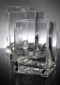 Clear Glass Cube Vases 6in, 7in, 8in (Set of 3)