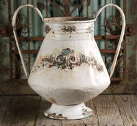 Distressed Metal Urn Vase