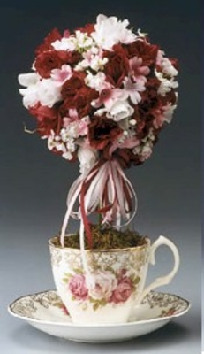 DIY How to make a  Teacup Topiary for a Bridal Luncheon