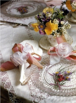 DIY: Wedding Shower Luncheon Ribbon Napkin Rings & Pressed Flower Plates