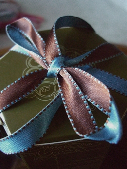 Double Sided Stitched Satin Ribbon Blue & Brown 7/16 width 55 yds