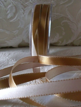 Double Sided Stitched Satin Ribbon Gold & Ivory 7/16 width 55 yds