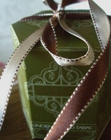 Double Sided Stitched Satin Ribbon Ivory & Brown 7/16 width 55 yds