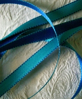 Double Sided Stitched Satin Ribbon Turquoise & Blue 7/16 width 55 yds
