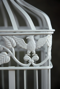 "Eagle Bird Cages (set of two ) White Square 17"" & 14"""