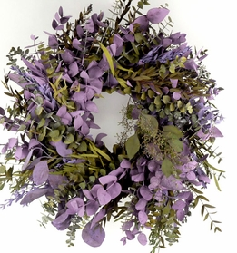 "Eucalyptus Wreaths 17"" Natural Preserved Kiwi & Lilac"