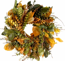 "Eucalyptus Wreaths Natural Preserved- 17"" Indian Summer"