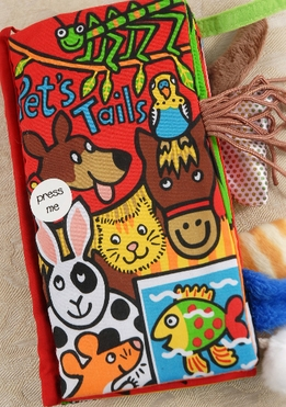 Fabric Baby Books Pet Tails Soft Cloth Book by Jellykitten