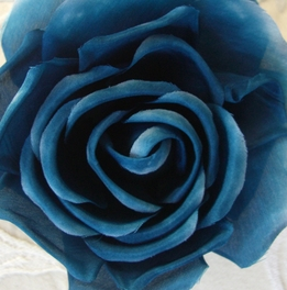 Fabric Rose with Hair Clip & Pin Indigo Blue