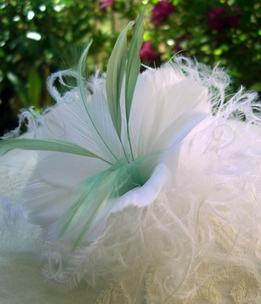 Fascinator Feather Flowers White with Sage Green