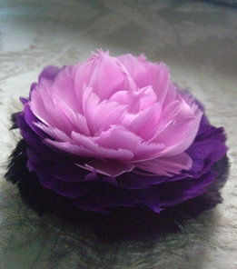 "Fascinator Flowers: 4"" Lavender & Purple Feather Flower Rose"