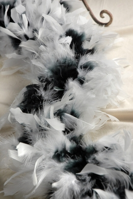 "Feather Boas (8"" thick) Black with White Tips 80 gram"