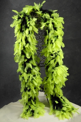 "Feather Boas Thick Lime Green with Black Tips (8"" wide x 76"" long)"