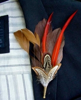 Feather Boutonni�res Melodus Feather Buttonhole
