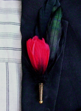 Feather Buttonhole For Groom Boutonnire Black & Red Feathers