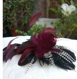 Feather Couture Large Burgundy Flower with Pheasant Feathers