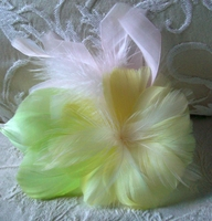 Feather Flowers Lime, Yellow, Light Pink Hibiscus Flower