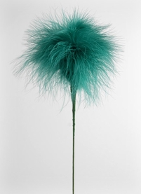 Feather Flowers on Wire Stem Fluffy Teal Green