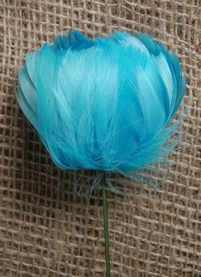 Feather Flowers on Wire Stem Turquoise Blue