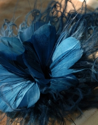 Feather Flowers Teal Blue Fascinator