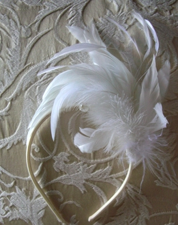 Feather Headbands Long White Ostrich & Coque Feathers