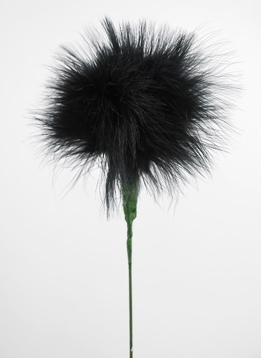 "Feathers Black Marabou Powder Puff Feathers on 20"" Wire Stem"