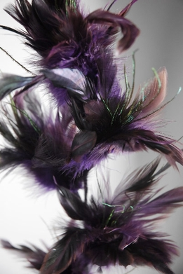 Feathers for Centerpieces Purple on Wired Stem 32 in.
