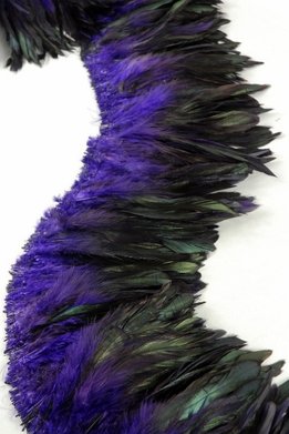 "Feathers Purple & Black Schlappen Natural Feathers (1 yard x 6-7"" wide)"