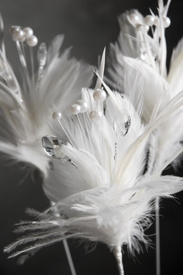 Feathers White Feather Stem with Pearls & Crystals 22 in.