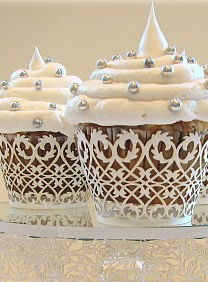 Filigree Cupcake Wrappers - White 50 pack