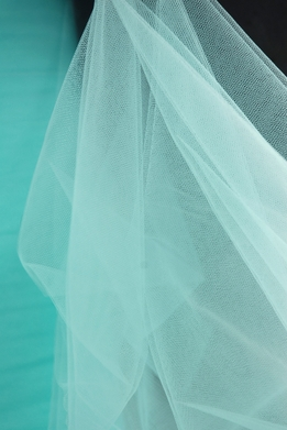 "Fine Tulle Bolt Aqua Blue / Tiffany Blue 54"" wide 40 yards"